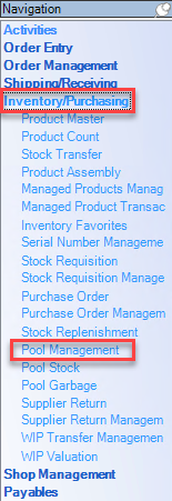 Enterprise Navigation menu; shows location of Inventory/Purchasing and Pool Management.