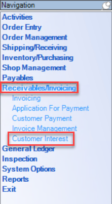 Enterprise Navigation menu; shows the location of Receivables/Invoicing and Customer Interest.