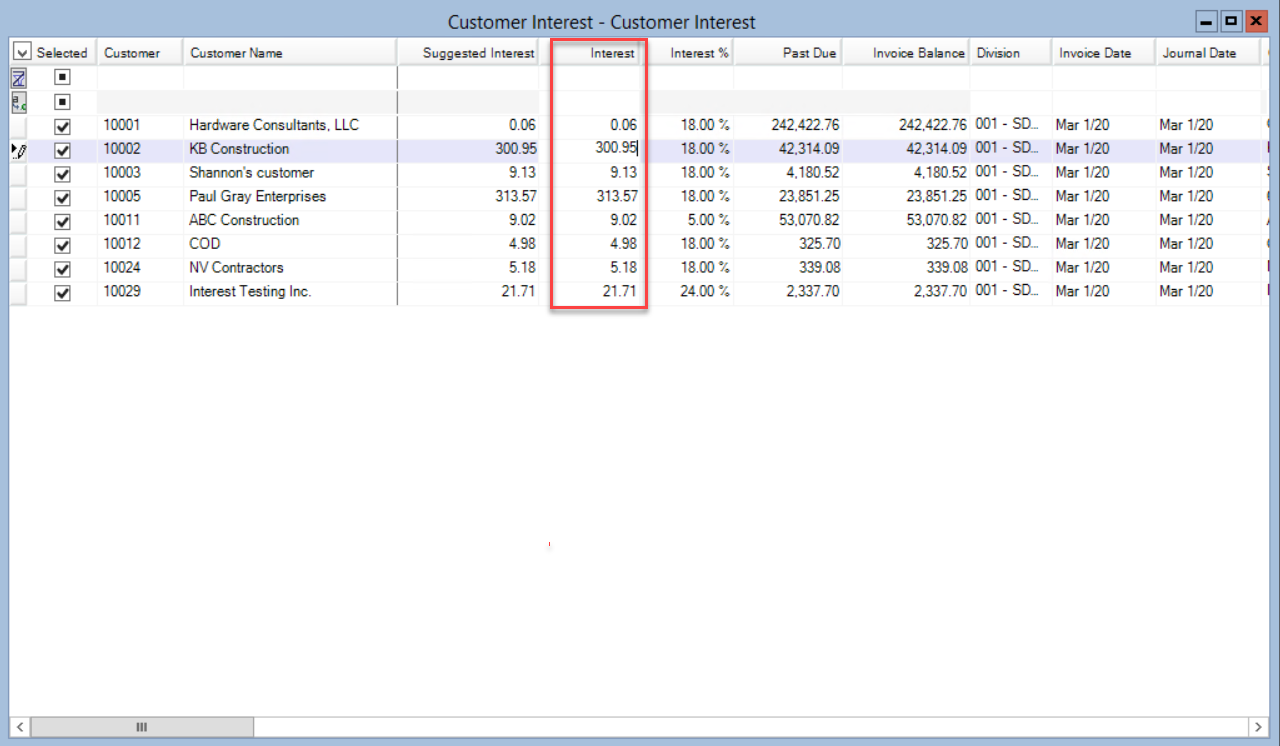 Customer Interest window; shows the location of the Interest column.