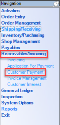 Enterprise Navigation Menu; shows location of Receivables/Invoicing and Customer Payments.