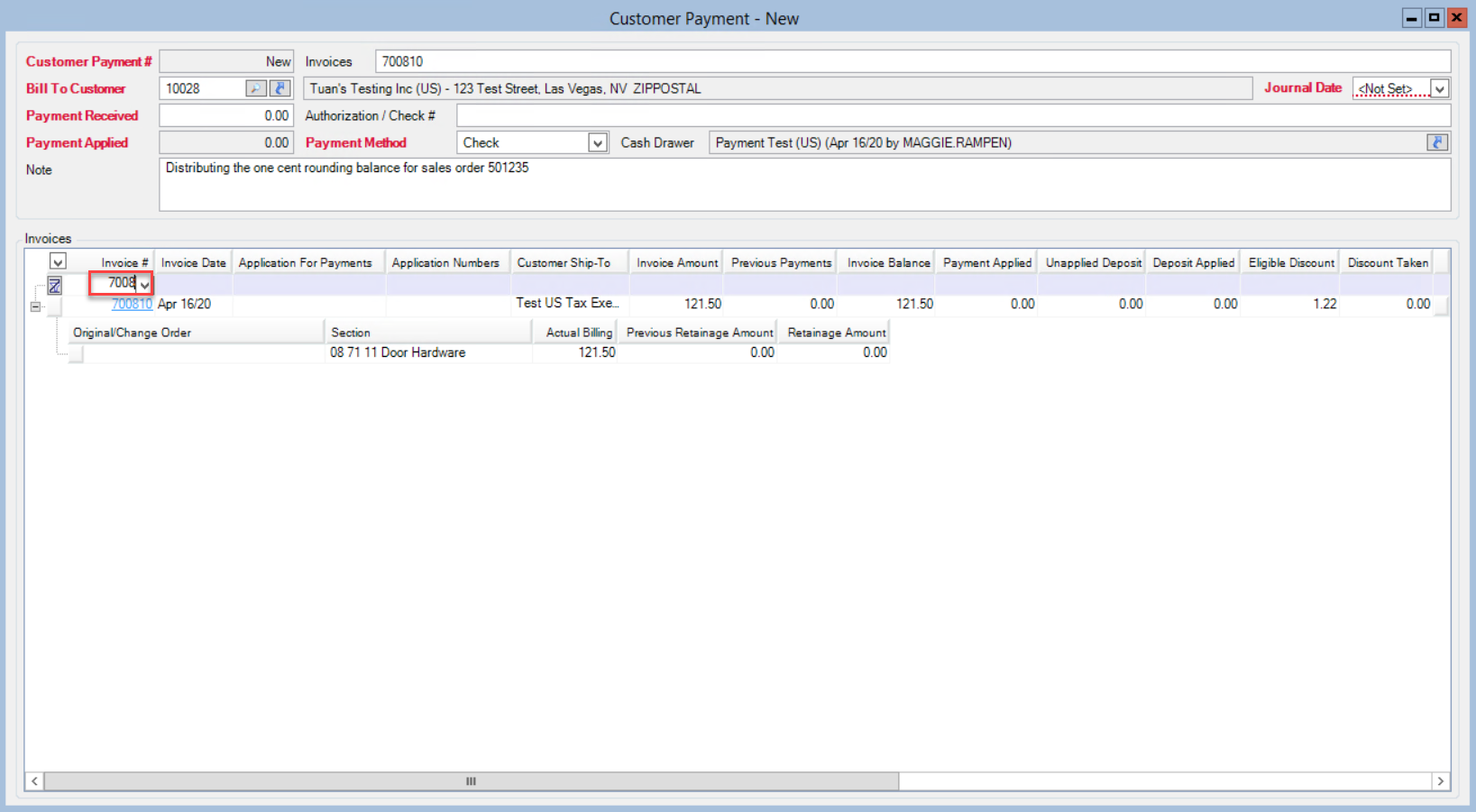 Customer Payments window; shows location of the filter by Invoice Number field.