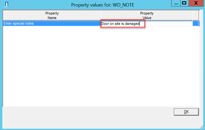 Property Values window; shows the added property value.