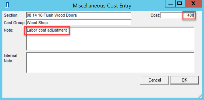 Miscellaneous Cost Entry window; shows the location of the Note field and Cost field