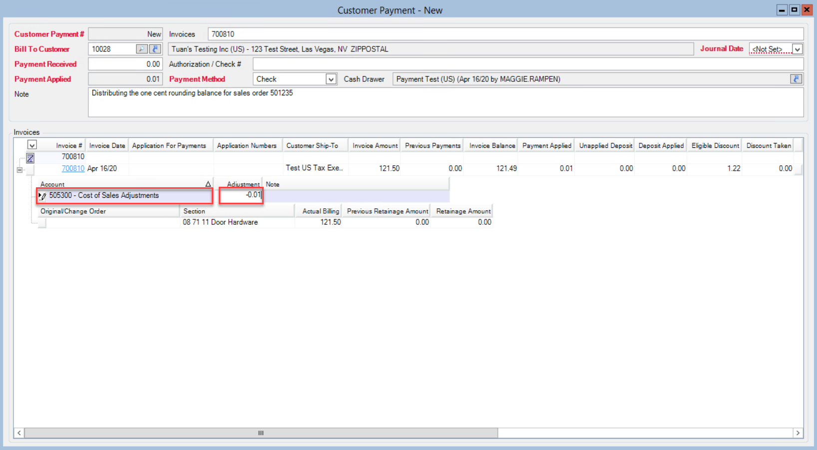 Customer Payments window; shows the location of the Accoutn field and Adjustment field