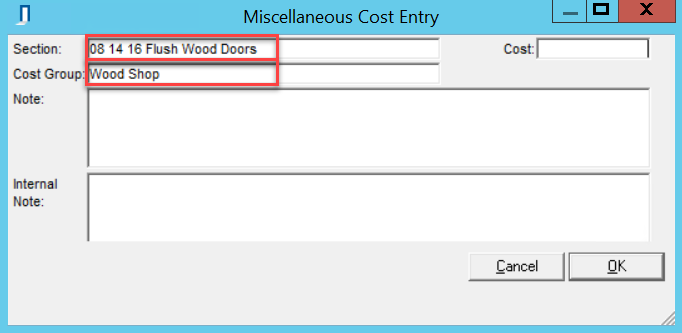 Miscellaneous Cost Entry window; shows the Section and Cost Group fields.