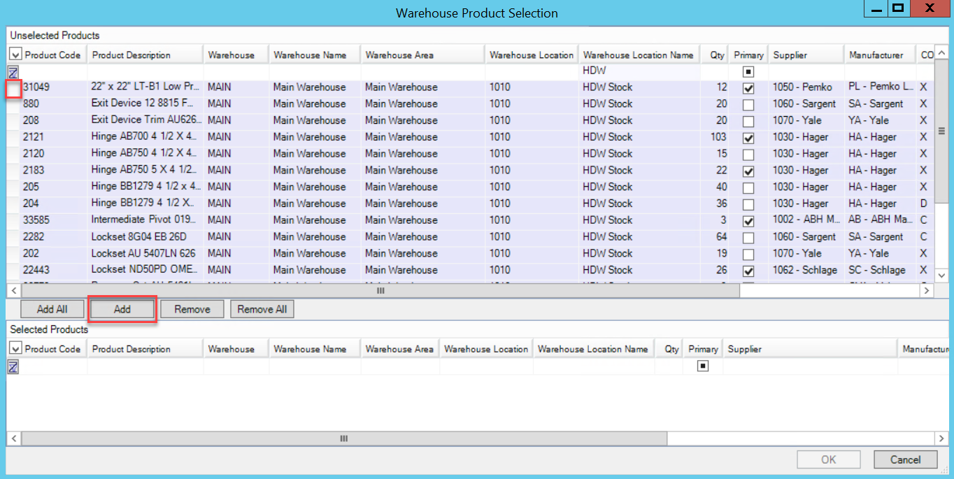 Warehouse Product Selection window; shows the select line item button and the location of the Add button.