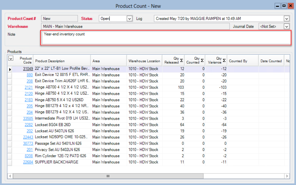 Product Count window; shows the location of the Note field with an example note.