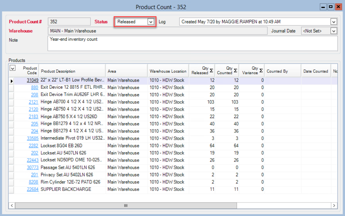 Product Count window; shows the location of the Status field and the status set to released.