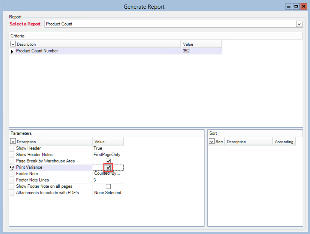 Generate Report window; shows the location of the Print Variance checkbox.