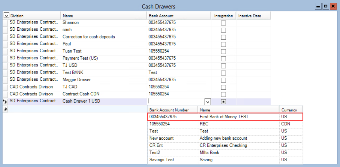 Cash Drawer Maintenance window; shows the Bank Account column down-down list.