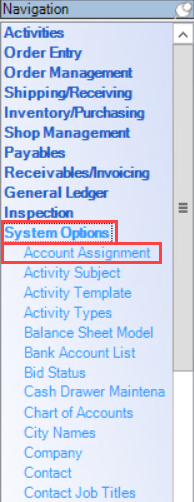 Enterprise Navigation menu; shows the location of System Options and Accout Assignment.
