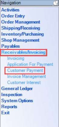 Enterprise Navigation menu; shows the location of Receivables/Invoicing and Customer Payment.