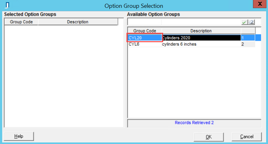 Option Group Selection window; shows the location of the Group Code field.
