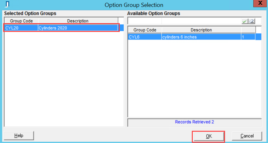 Option Group Selection; shows the selected options line item and the location of the OK button.