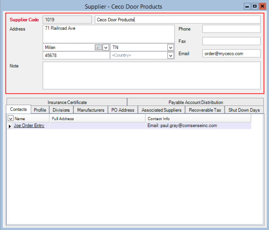 Supplier window; shows the location of the supplier information fields.
