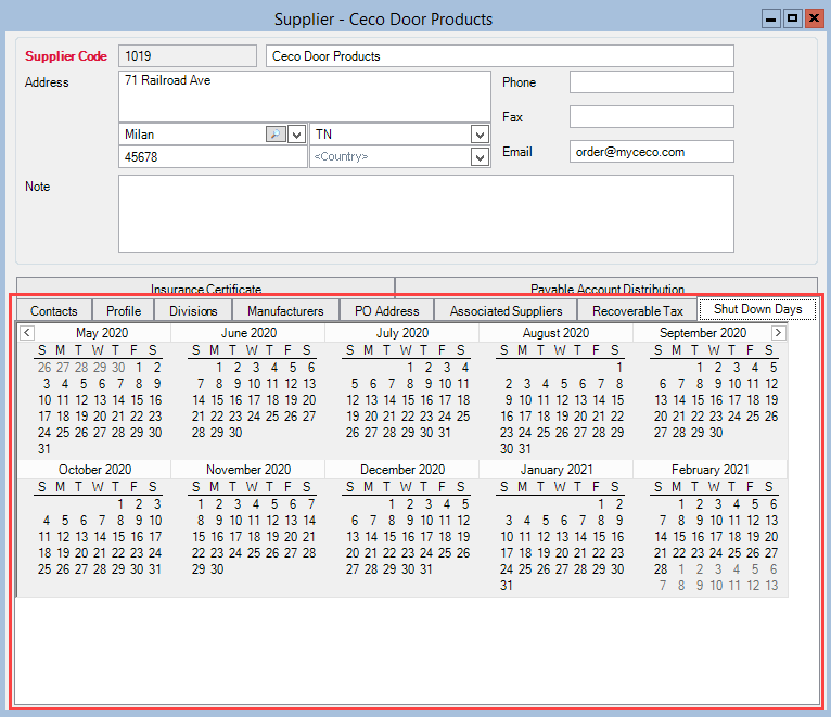Supplier window; shows the location of the Shutdown Days tab.