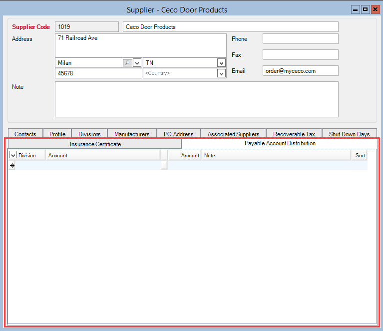 Supplier window; shows the location of the Payable Account Distribution tab.