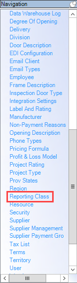 Enterprise Navigation menu; shows the location of Reporting Class.