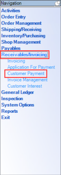 Enterprise Navigation menu; shows the location of Receivables/Invoices and Customer Payment.
