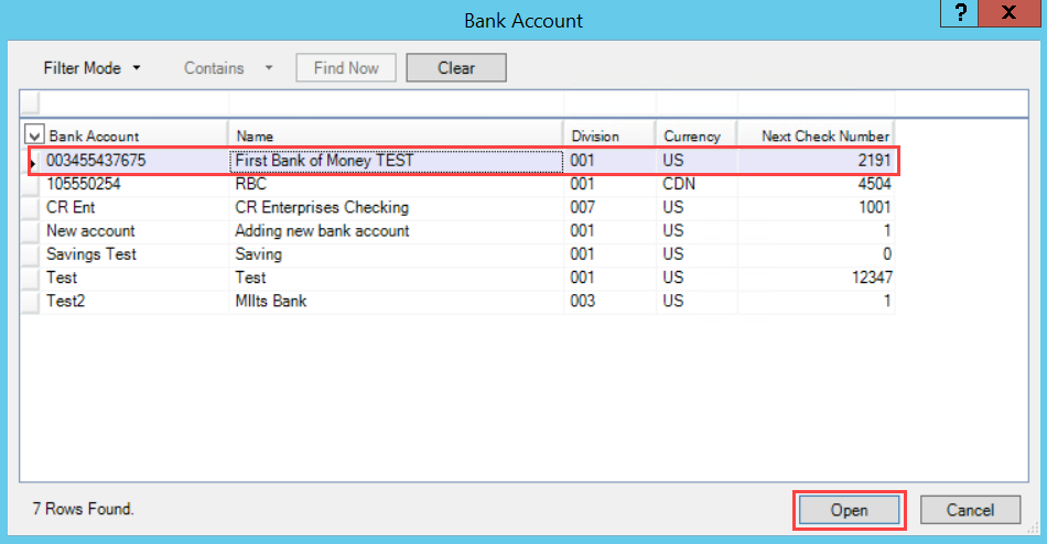 Bank Account window; shows a selected bank account and the location of the Open button.