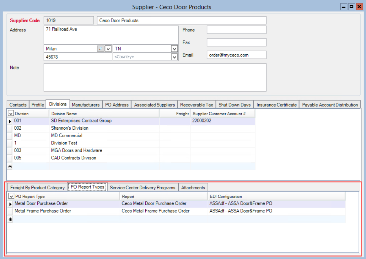 Supplier window; shows the location of the Divisions PO Report Types tab.