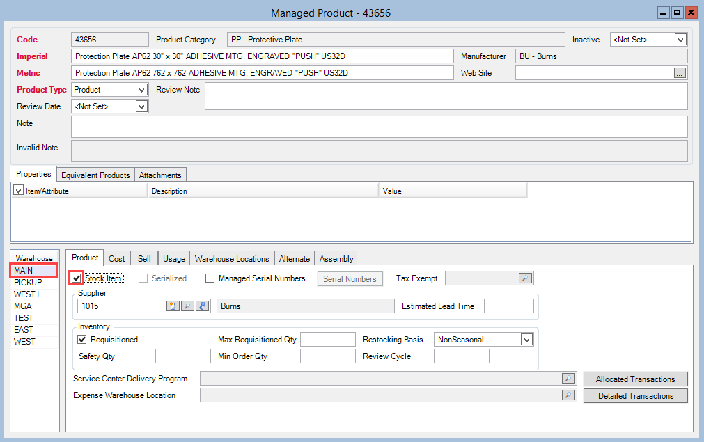 Product Master window; shows a selected warehouse and a checked Stock Item checkbox.