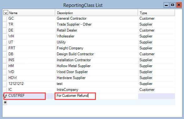 ReportingClass List window; shows the location of the Name and Description field.