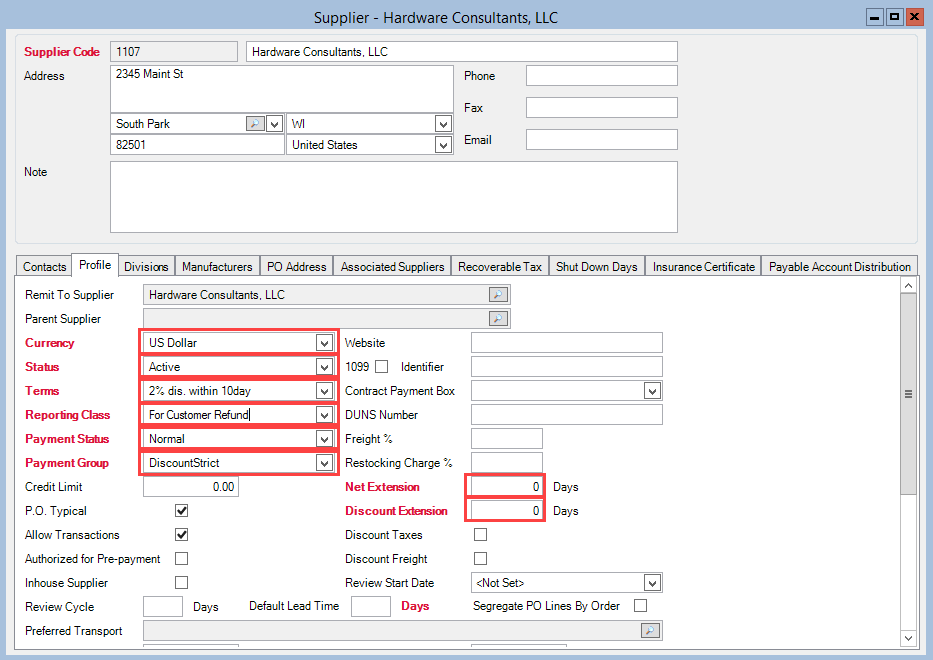 Supplier window; shows the location of the mandatory fields in the Profile tab.
