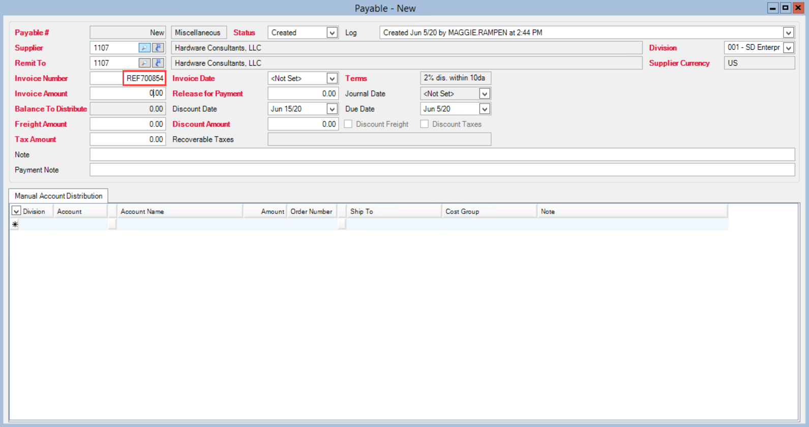 Payable window; shows the location of the Invoice Number field and an example invoice number.