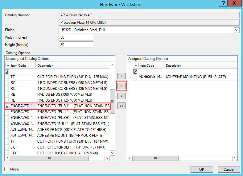 Hardware Worksheet window; shows a selected catalog option and the location of the Add button.