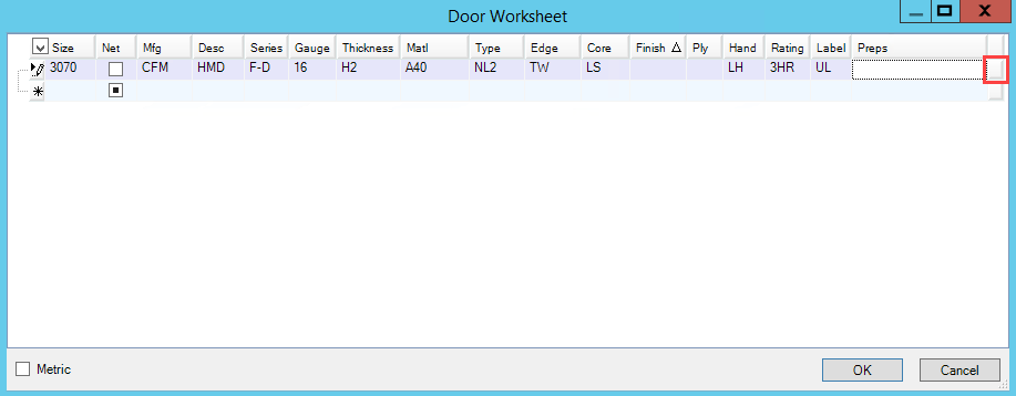 Door Worksheet window; shows the location of the Preps/Parts/Labor Picker button.