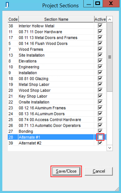 Project Sections window; shows an unchecked Active checkbox.