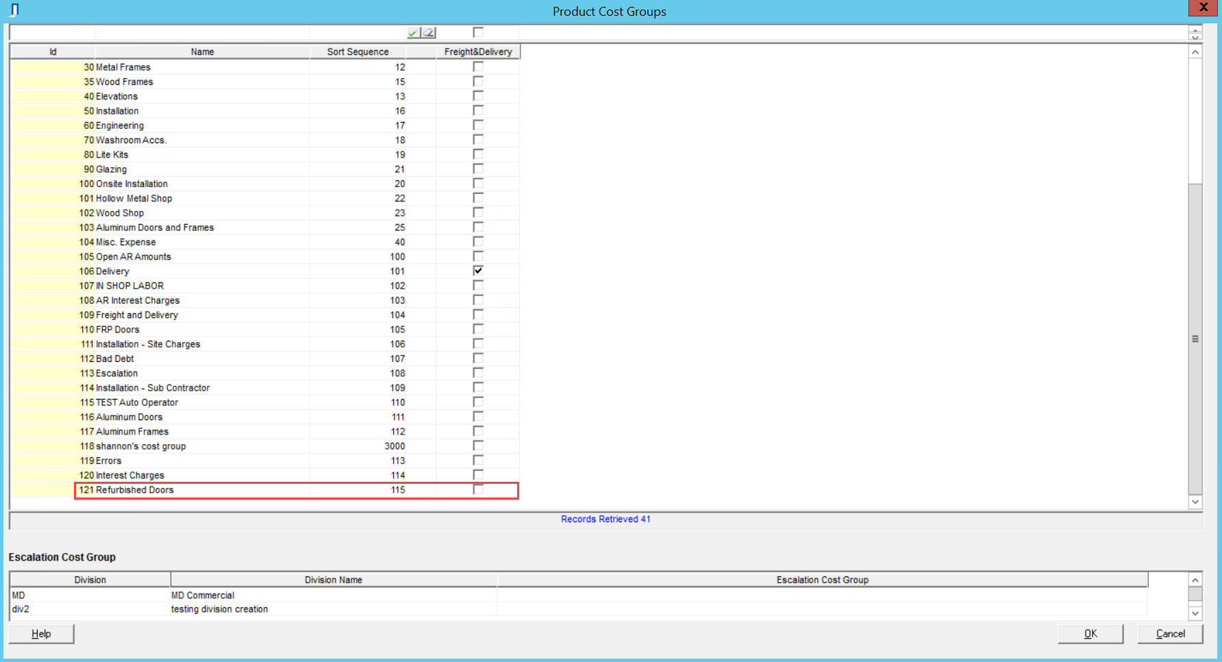 Project Cost Group window; shows an example of a new cost group line item.