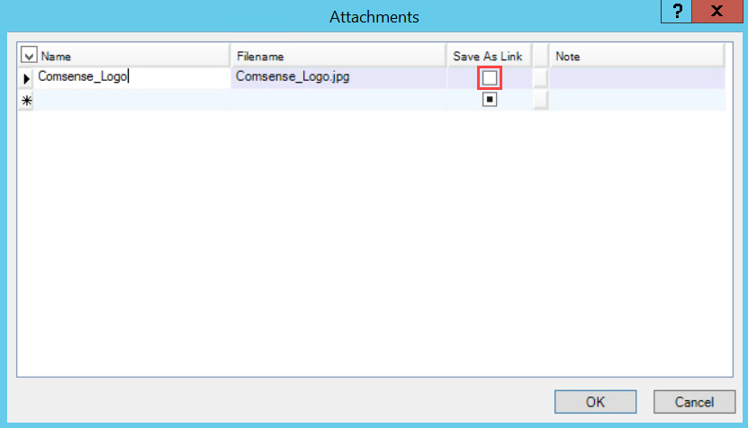 Attachments window; shows the unchecked Save As Link checkbox.