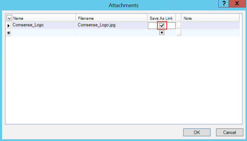Attachments window; shows the checked Save As Link checkbox.