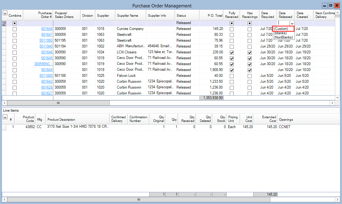 Purchase Order Management window; shows where to create a custom filter.