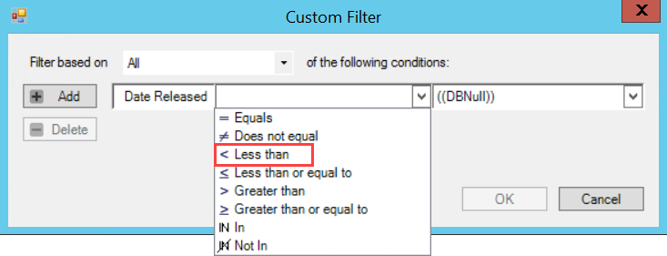 Custom Filter window; shows the location of the < Less than parameter.