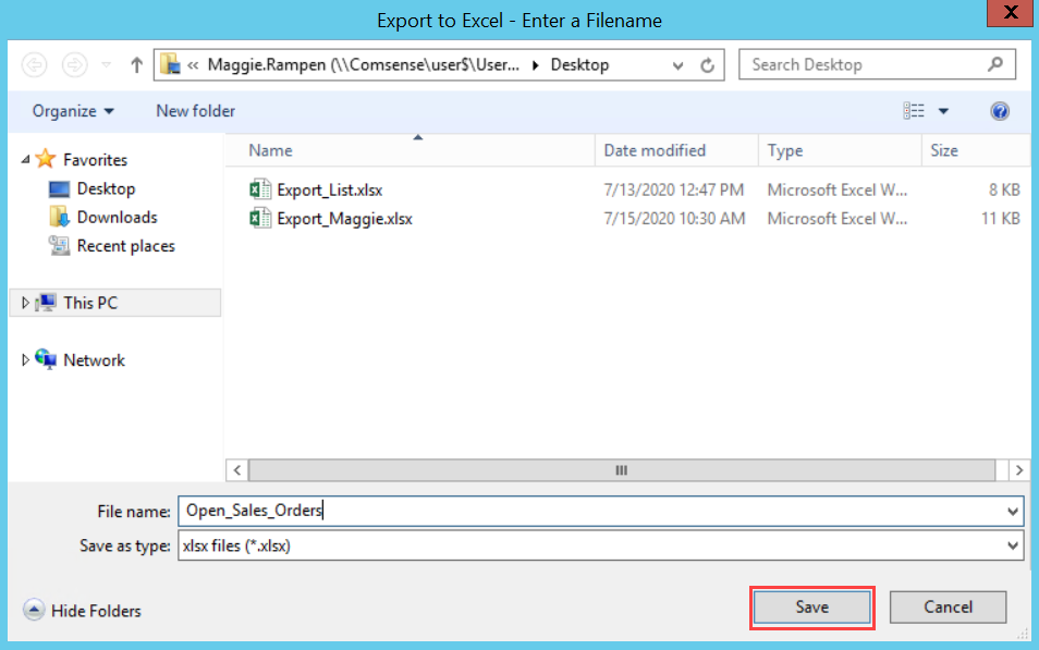 File Explorer window; shows the location of the Save button.