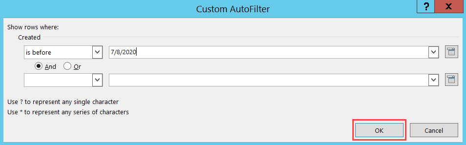 Custom AutoFilter window; shows the location of the OK button.