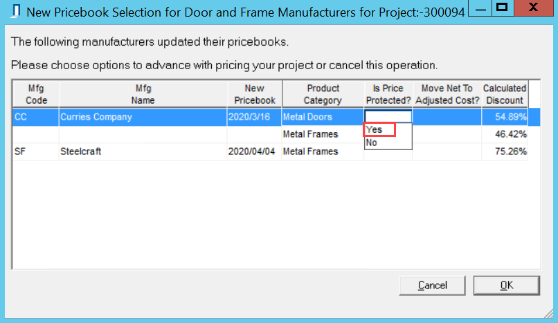 New Pricebook Selection for Door and Frame Manufacturers window; shows the drop-down list for Is Price Protected? column.
