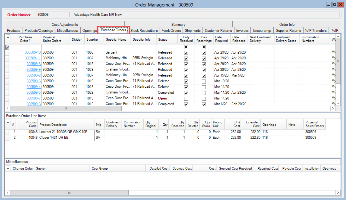 Order Management window; shows the location of the Purchase Orders tab.
