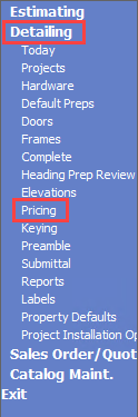 Advantage Navigation menu; shows the location of Detailing and Pricing.