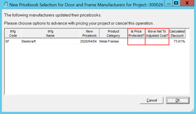 New Pricebook Selection for Door and Frame Manufacturers window; shows the location of the Is Price Protected and Move Net To Adjusted Cost column.