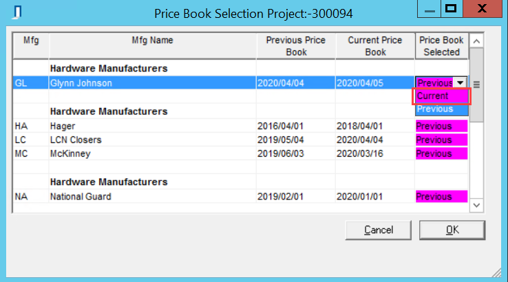 Price Book Selection window; shows the drop-down list for the Price Book Selected column.