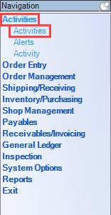 Enterprise Navigation menu; shows the location of Activities and Activities.