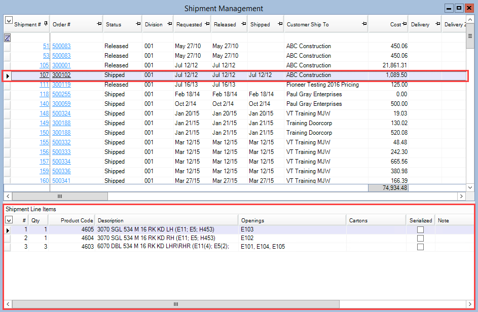 Shipment Management window; shows the Shipment Line Item pane is the Bottom pane.