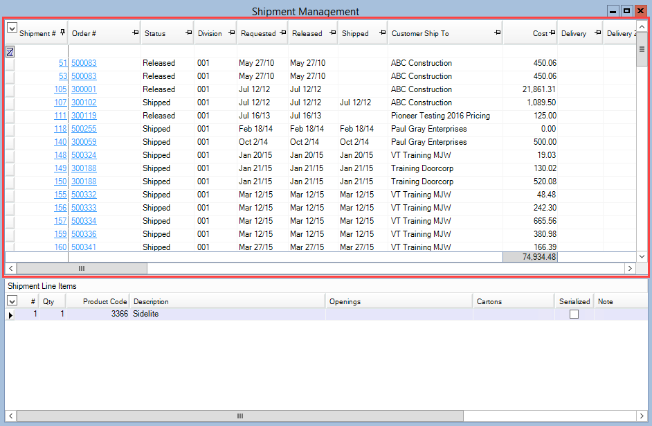 Shipment Management window; shows the Shipment pane is the top pane.