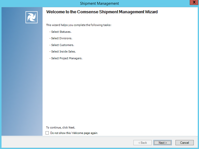 Shipment Management wizard; Welcome page.
