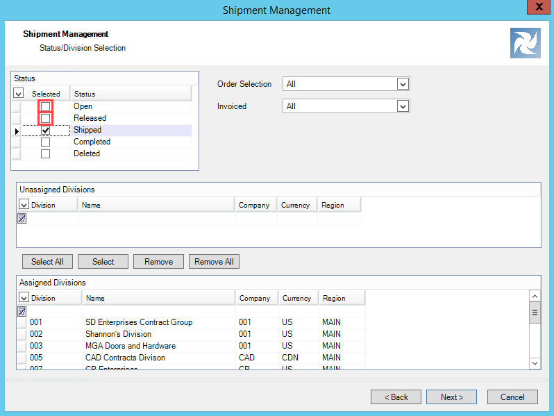 Shipment Management wizard, Status/Division Selection page; shows examples of unselected statuses.