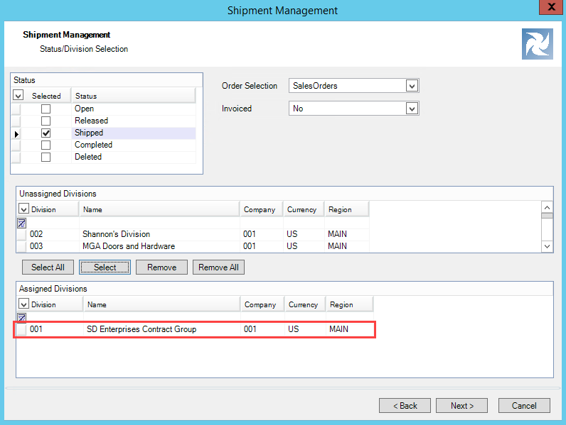 Shipment Management wizard, Status/Division Selection page; shows an example of one division in the Assigned Divisions pane.